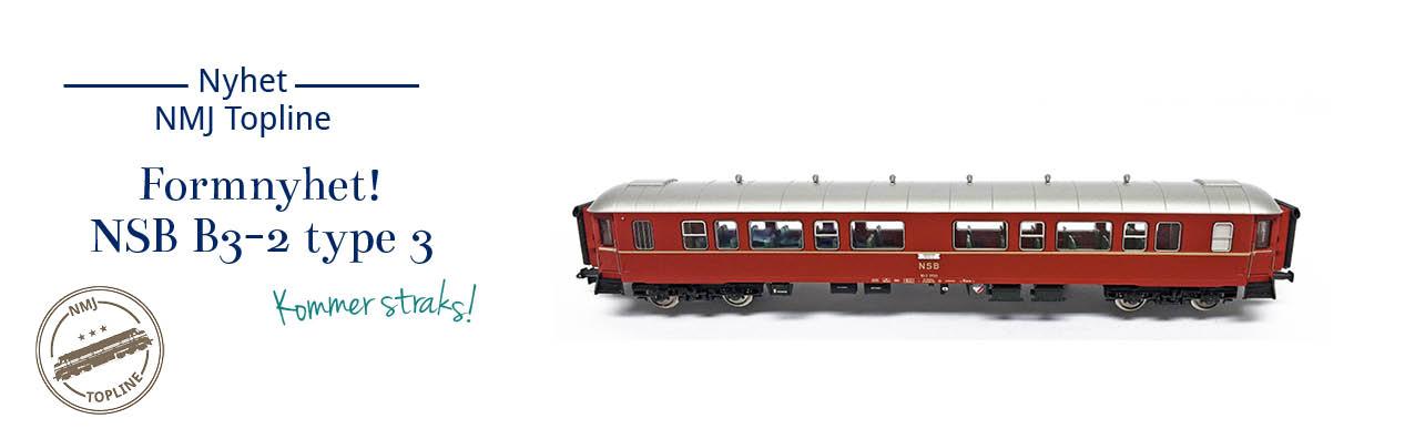 NMJ Topline 130.101 og 130.102 NSB Personvogn B3-2 type 3 (ex B2) kommer straks på lager - forhåndsbestill nå
