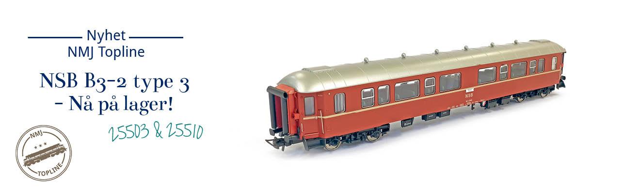 NMJ Topline 130.101 og 130.102 NSB Personvogn B3-2 type 3 (ex B2) kommer straks på lager - forhåndsbestill n&aring.