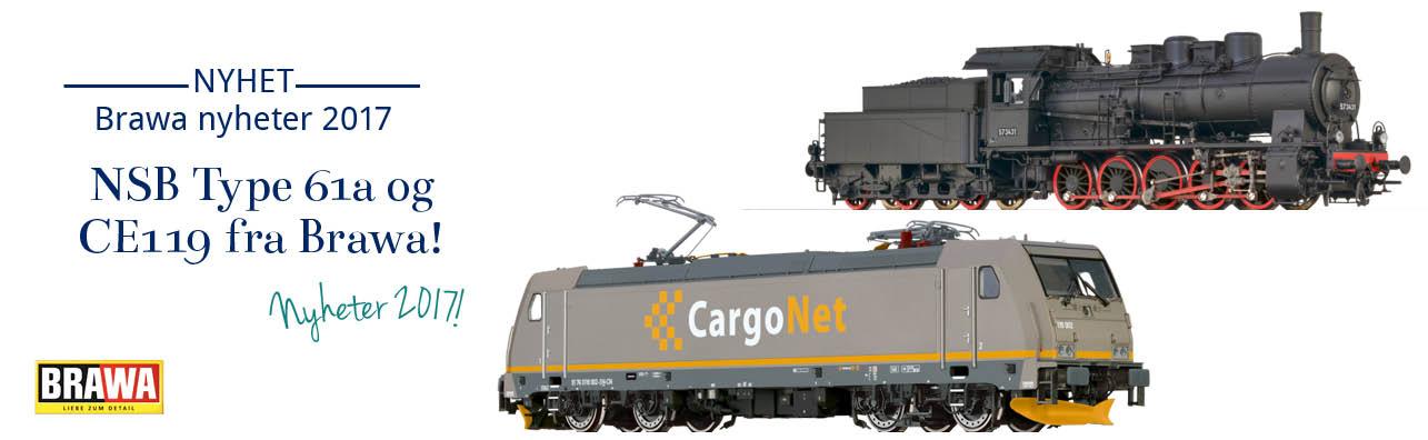 Brawa nyheter 2017 - Både NSB Damplok Type 61a og CargoNet CE119 kommer!