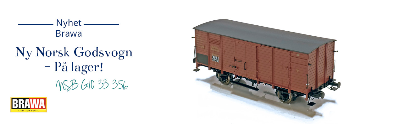 Brawa 49065 NSB lukket godsvogn G10 33 356 er nå på lager og klar for levering!