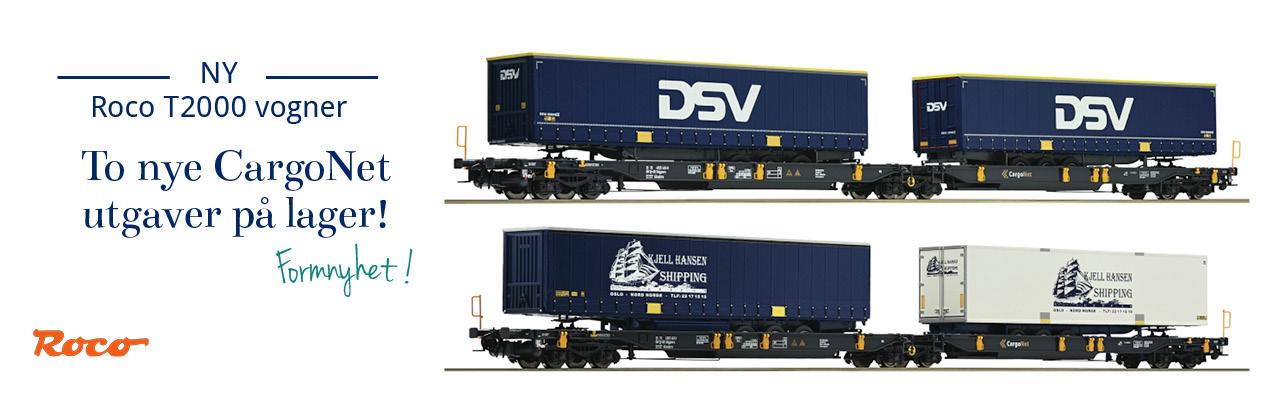 Roco T2000 container og brønnvogner på lager - CargoNet, GreenCargo, Wascosa, AAE