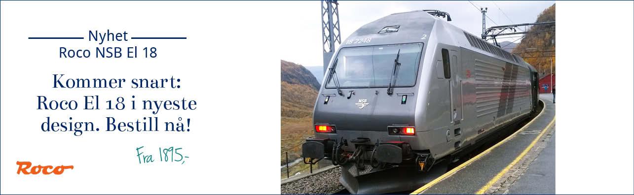 Roco 73738 - Roco 73639 - Roco 79639 NSB El18 i det nyeste designet: sølv/grå. Bestill nå - kommer snart!