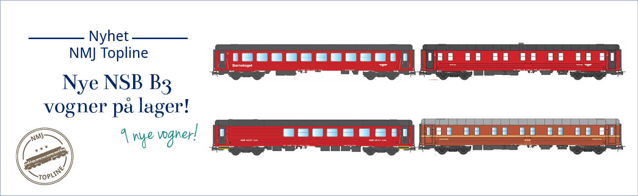 NMJ Topline NSB B3-serie vogner er nå på lager. Vognene leveres i følgende varianter - NSB WLAB Sovevogner, nydesign og gammeldesign (NMJ 101.103, 101.104, 101.303 og 101.304), NSB CB3 og BC3 barnetoget og bamsetoget (NMJT 106.304, 101.305 og 106.306) samt NSB FR3-2 Bistro og NSB Meny Café.