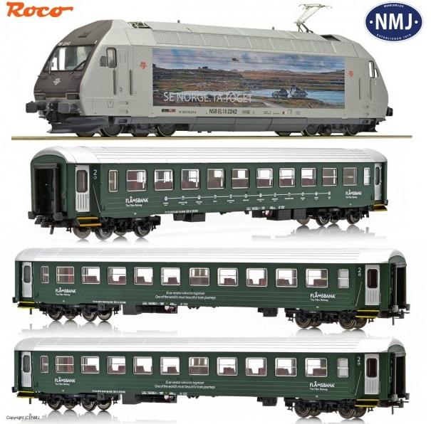Roco 61451, 61452 og 61453 Flåmsbana Togsett med El18 og 3 B3 vogner