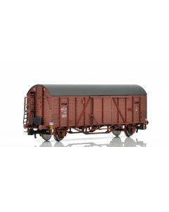 Topline Godsvogner, NMJ Topline model of the TGOJ F6 170 box car bicycle van with end wall doors and high short platform. , NMJT604.501