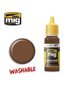 Mig Akrylmaling, ammo-by-mig-jimenez-0107-washable-earth-washable-paint, MIG0107