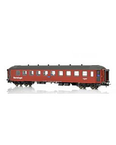 "Topline Personvogner, NMJ Topline model of the NSB CB3 Type 2 21235 Childrens coach ""Barnetoget"" with family seating areas in the red/black livery., NMJT132.305"