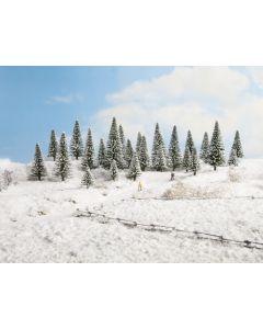 Nåletrær, Grantrær med snø, 5 stk, 5 - 9 Cm, NOC26929