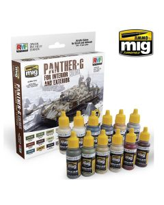 Mig Akrylmaling, ammo-by-mig-jimenez-7174-panther-g-colors-set-for-interior-and-exterior, MIG7174