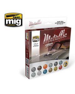 Mig Akrylmaling, ammo-by-mig-jimenez-7175-metallic-colors-12-jars, MIG7175