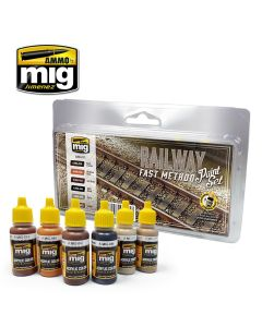 Mig Akrylmaling, ammo-by-mig-jimenez-7471-railway-fast-method-paint-set-acrylic-paint-for-tracks, MIG7471