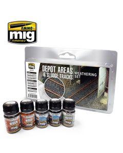 Mig, ammo-by-mig-jimenez-mig7470-depot-areas-sludge-tracks-railway-weathering-set, MIG7470