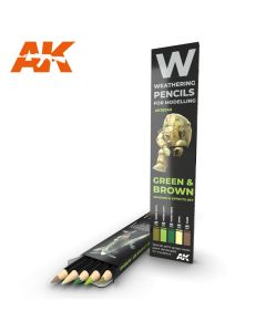 AK Interaktive, ak-interactive-10040-weathering-pencils-for-modelling-green-and-brown, AKI10040