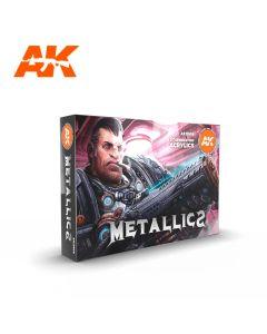 AK Interaktive, ak-interactive-ak11608-metallics-colors-set-with-6-paints-17-ml-third-generation-acrylics, 11608