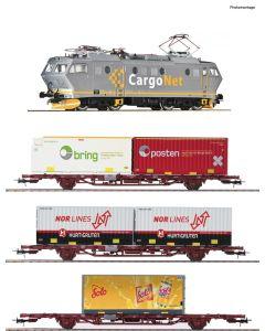 Lokomotiver Norske, roco-61486-cargonet-el-16-nmj-topline-lgjs-lgns-containervogner-solo-bring-posten-hurtigruten-nor-lines-dc-analog, ROC61486