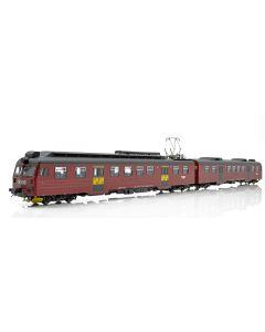 Topline Lokomotiver, NMJ Topline modell av NSB BM69.015 - BS69.615 motorvognsett i nydesign rødt/sort med sorte dører og gule månedskortmerker, DCC digital med lyd., NMJT84.202
