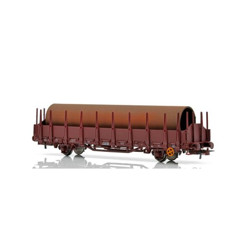 Topline Godsvogner, NMJ Topline model of the NSB Os 21 76 370 0 256-9 open freight car with stakes. Loaded with tubes., NMJT501.302