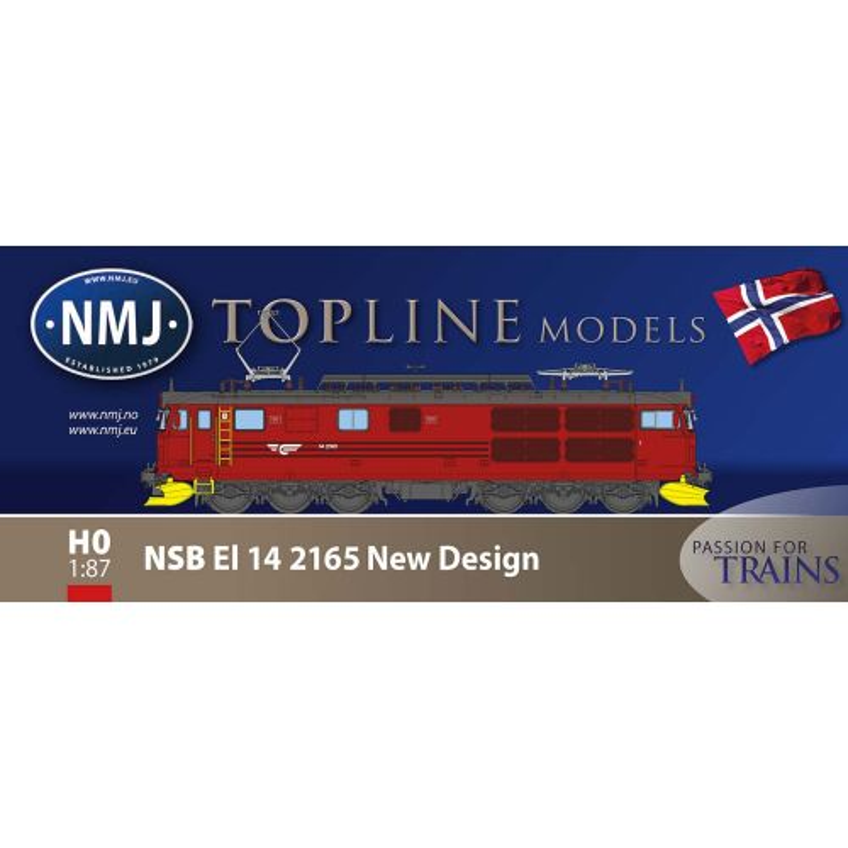 Topline Lokomotiver, nmj-topline-93104-nsb-el14-2165-red-black-livery-v2-dc, NMJT93104