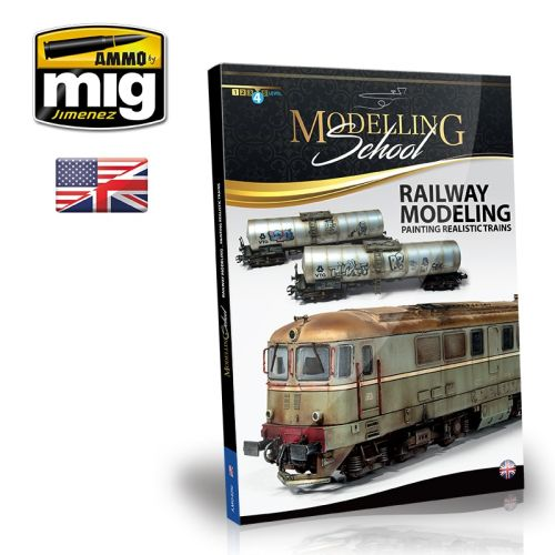 Bøker, ammo-by-mig-jimenez-mig-6250-modelling-school-railway-modeling-painting-realistic-trains-book-english, MIG6250