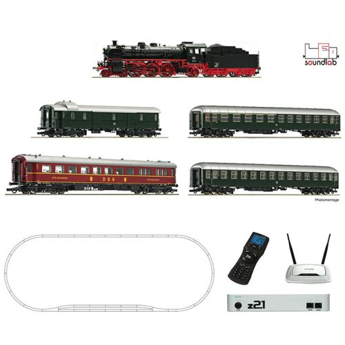 Startsett, roco-51313-edition-z21-deluxe-starter-set-steam-locomotive-with-sound-br-18-6-express-coaches-wifi-phone-android-ios-app-h0, ROC51313