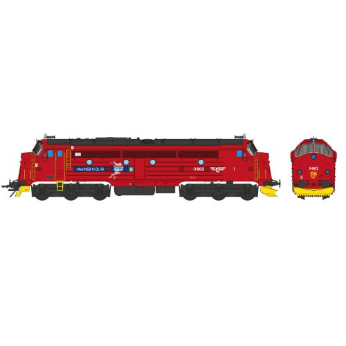 Topline Lokomotiver, nmj-topline-145006-nsb-di3a-602-red-black-gm-logo-olympic-games-lillehammer-1994-0-scale-1-45-dc, NMJT145006